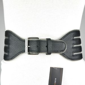 BCBG Black Wide Zipper Waist Faux Leather Belt